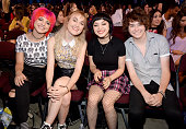 Musicians Nia Lovelis Miranda Miller Rena Lovelis and Casey Moreta of Hey Violet attend the Teen Choice Awards 2015 at the USC Galen Center on August...