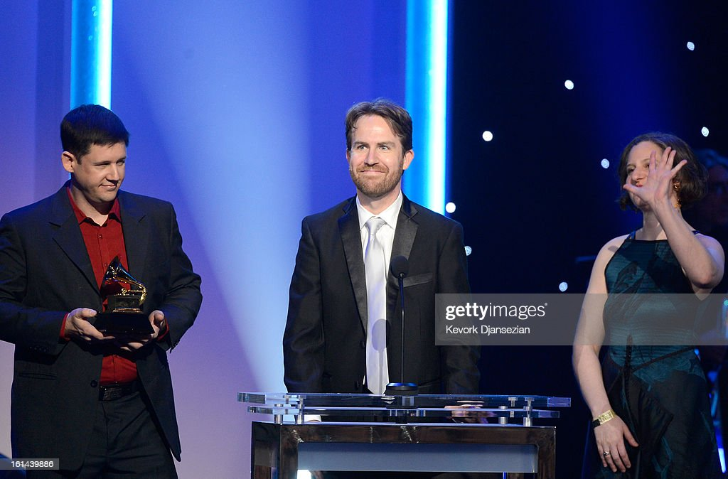 Musicians Nicholas Photinos, Michael J. Maccaferri and Lisa Kaplan of Eighth Blackbird onstage at the The 55th Annual GRAMMY Awards at Staples Center on February 10, 2013 in Los Angeles, California.