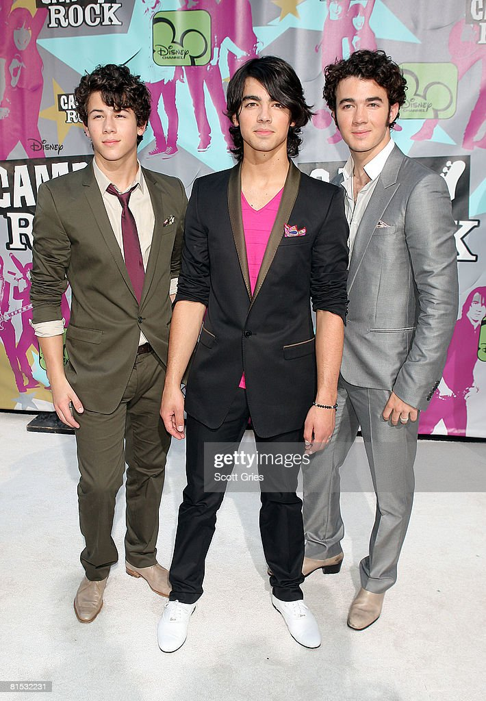Musicians Nick Jonas Joe Jonas and Kevin Jonas of The Jonas Brothers attend the premiere of 'Camp Rock' on June 11 2008 in New York