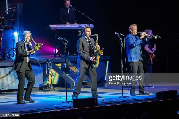 Musicians James Pankow Robert Lamm Ray Herrmann Lee Loughnane and Jeff Coffey of Chicago perform on stage at San Diego Civic Theatre on September 3...