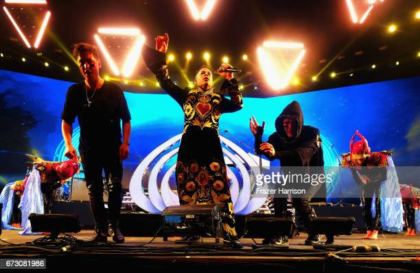 Musicians Nick Littlemore Luke Steele of Empire of the Sun perform at the Sahara Tent> on April 21 2017 in Indio California