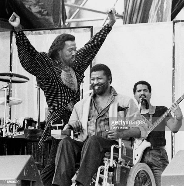 Musicians Nickolas Ashford Valerie Simpson and Teddy Pendergrass attending 'Live Aid Concert' on July 13 1985 at the JFK Stadium in Philadelphia...