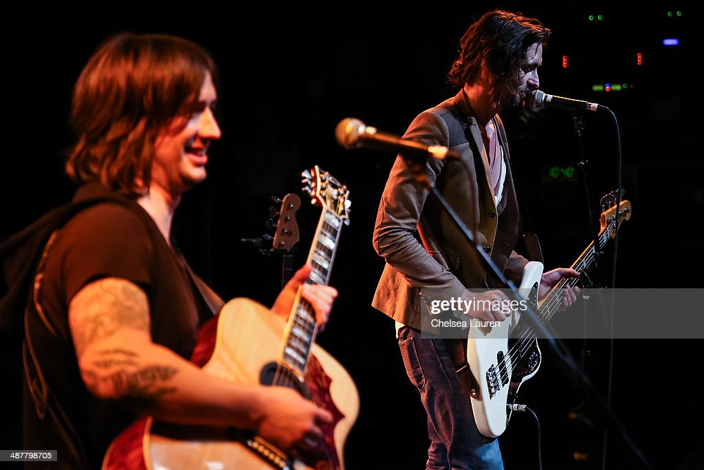Musicians Nickolas Von Wheeler (L) and <a gi-track='captionPersonalityLinkClicked' href=/galleries/search?phrase=Tyson+Ritter&family=editorial&specificpeople=227469 ng-click='$event.stopPropagation()'>Tyson Ritter</a> of The All-American Rejects perform at Lyme Light: the concert benefiting the tick-borne disease alliance at El Rey Theatre on May 1, 2014 in Los Angeles, California.