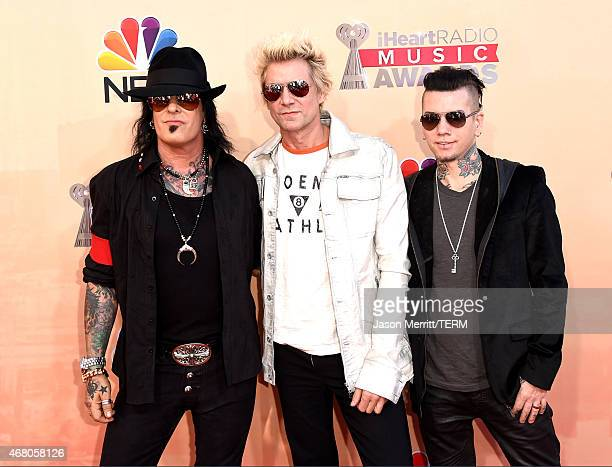 Musicians Nikki Sixx James Michael and DJ Ashba of SixxAM attend the 2015 iHeartRadio Music Awards which broadcasted live on NBC from The Shrine...