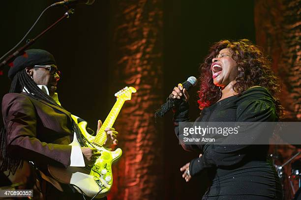 Musicians Nile Rodgers and Chacka Khan perform at the 2015 We Are Family Foundation Celebration Gala at Hammerstein Ballroom on April 23 2015 in New...