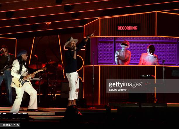 Musicians Nile Rodgers Pharrell Williams and Daft Punk perform onstage during the 56th GRAMMY Awards at Staples Center on January 26 2014 in Los...
