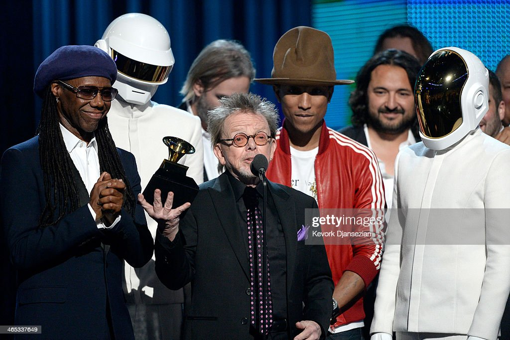 Musicians Nile Rodgers, Thomas Bangalter of Daft Punk, Paul Williams, Pharrell Williams, and Guy-Manuel De Homem-Christo of Daft Punk accept the Album of the Year award for 'Random Access Memories' onstage during the 56th GRAMMY Awards at Staples Center on January 26, 2014 in Los Angeles, California.