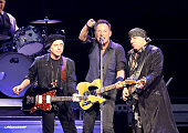Musicians Nils Lofgren Bruce Springsteen and Steven Van Zandt perform onstage during the Bruce Springsteen And The E Street Band In Concert at the...