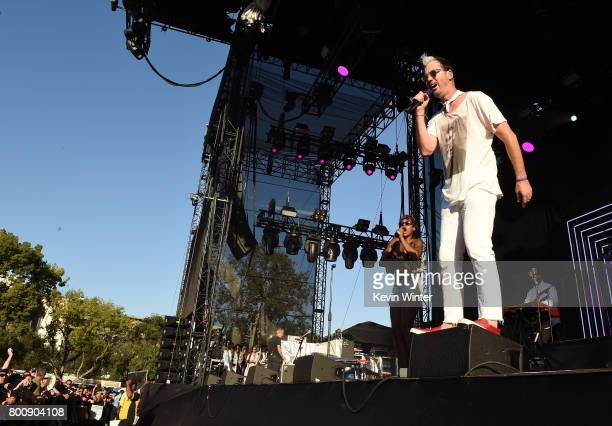 Musicians Noelle Scaggs and Michael Fitzpatrick of musical group Fitz and The Tantrums perform on The Oak stage during Arroyo Seco Weekend at the...
