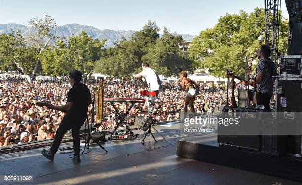 Musicians Noelle Scaggs and Michael Fitzpatrick of musical group Fitz and The Tantrums performs on The Oak stage during Arroyo Seco Weekend at the...
