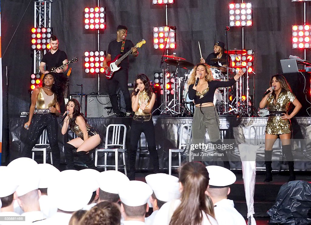 Musicians Normani Hamilton, <a gi-track='captionPersonalityLinkClicked' href=/galleries/search?phrase=Lauren+Jauregui&family=editorial&specificpeople=9766444 ng-click='$event.stopPropagation()'>Lauren Jauregui</a>, <a gi-track='captionPersonalityLinkClicked' href=/galleries/search?phrase=Camila+Cabello&family=editorial&specificpeople=9951839 ng-click='$event.stopPropagation()'>Camila Cabello</a>, Dinah-Jane Hansen and <a gi-track='captionPersonalityLinkClicked' href=/galleries/search?phrase=Ally+Brooke&family=editorial&specificpeople=9748330 ng-click='$event.stopPropagation()'>Ally Brooke</a> of band Fifth Harmony perform on On NBC's 'Today' Rockefeller Plaza on May 30, 2016 in New York City.