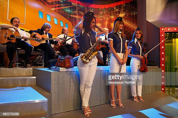 Musicians of the broadcast Mai Dire Martedì onstage ready to start a music piece during the shot of the broadcast in the television studios of...