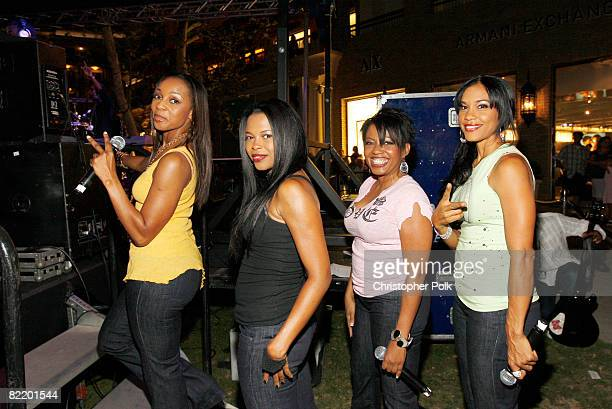 Musicians of the group En Vogue pose backstage at the En Vogue Live Performance Hot Summer Kick Off Concert Series held at the Americana at Brand on...