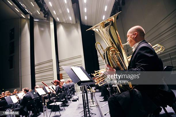 Musicians of the Lathi symphonic orchestra performs in Nantes western France on February 2 during the 18th edition of the classical music festival...