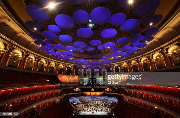 Musicians of The WestEastern Divan youth orchestra conducted by Daniel Barenboim rehearse in the Royal Albert Hall ahead of their performace in the...
