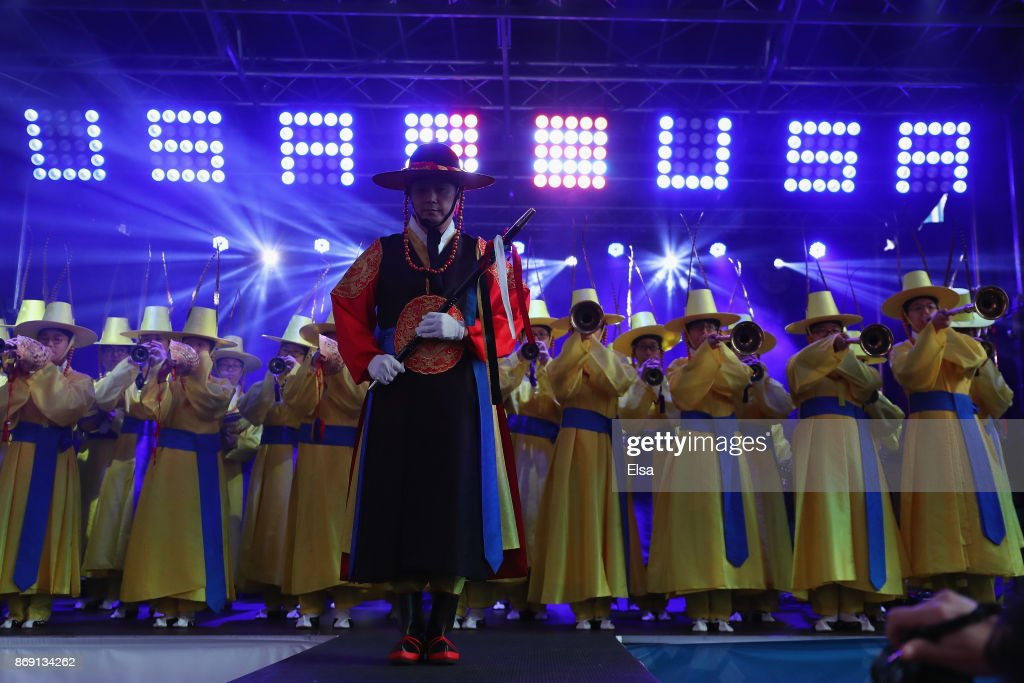 Musicians on stage perform during the 100 Days Out 2018 PyeongChang Winter Olympics Celebration - Team USA in Times Square on November 1, 2017 in New York City.