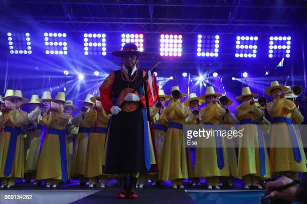 Musicians on stage perform during the 100 Days Out 2018 PyeongChang Winter Olympics Celebration Team USA in Times Square on November 1 2017 in New...