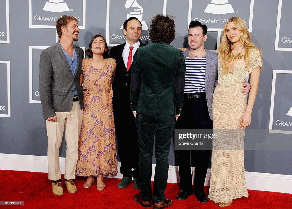 Musicians Orpheo McCord, Jade Castrinos, Alex Ebert and Nora Kirkpatrick of Edward Sharpe and the Magnetic Zeros attend the 55th Annual GRAMMY Awards at STAPLES Center on February 10, 2013 in Los Angeles, California.