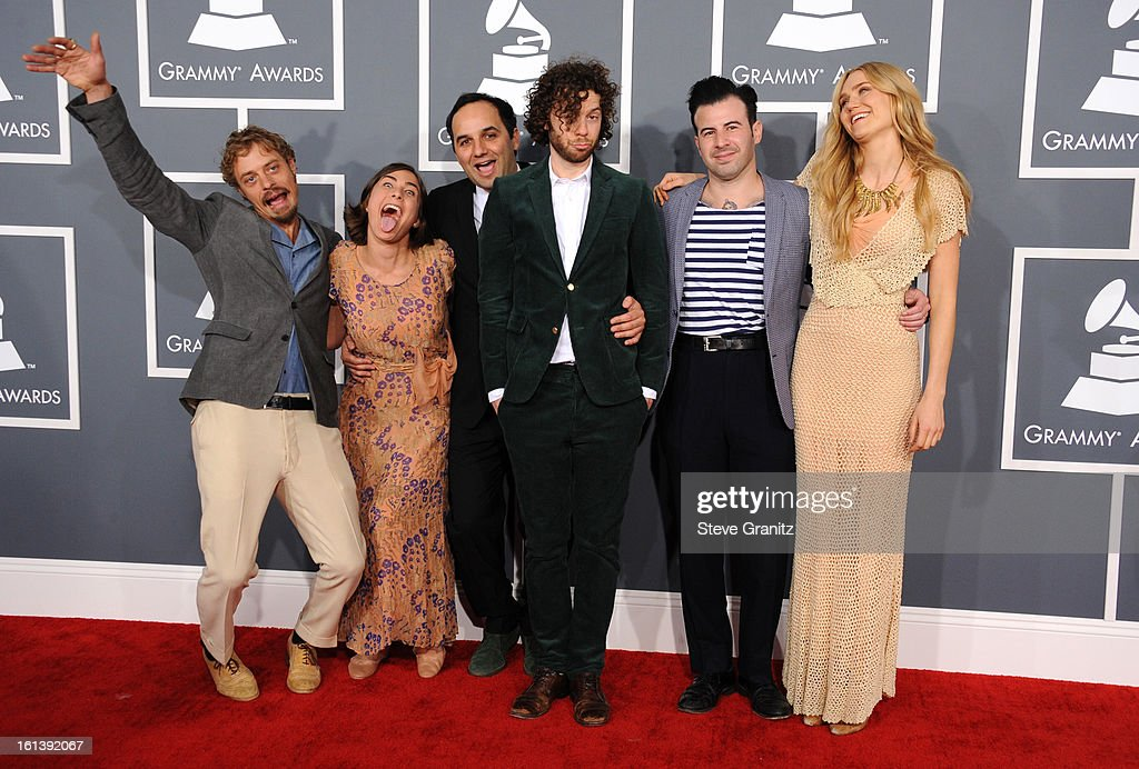 Musicians Orpheo McCord Jade Castrinos Alex Ebert and Nora Kirkpatrick of Edward Sharpe and the Magnetic Zeros attend the 55th Annual GRAMMY Awards...