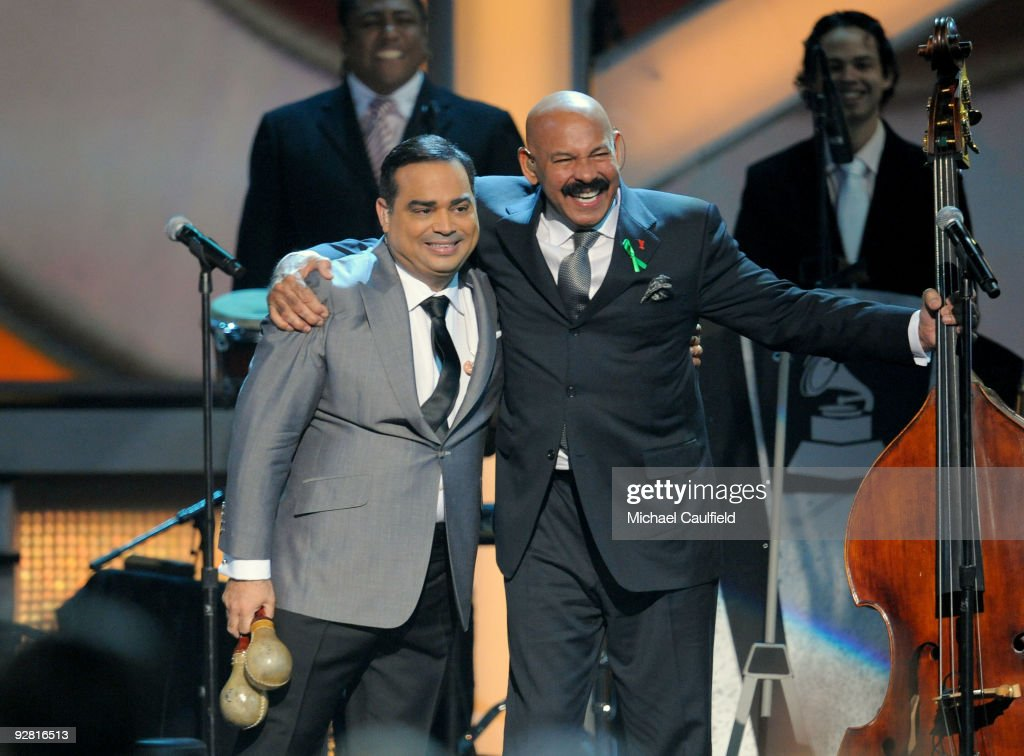 Musicians Oscar de Leon and Gilberto Santa Rosa perform onstage at the 10th Annual Latin GRAMMY Awards held at the Mandalay Bay Events Center on...