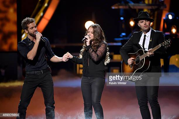 Musicians Pablo Alboran with Joy Huerta and Jesse Huerta of Jesse Joy perform onstage during the 15th annual Latin GRAMMY Awards at the MGM Grand...