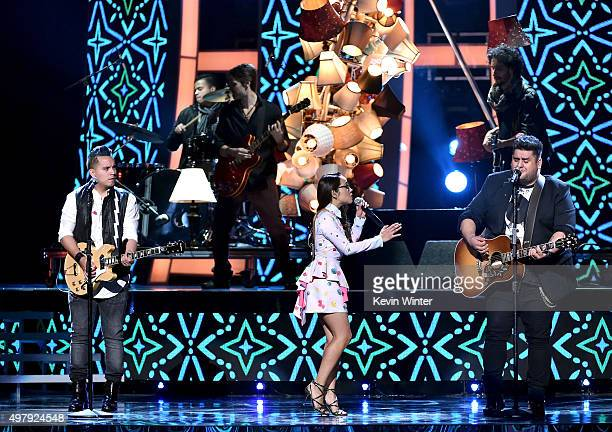 Musicians Pablo Preciado Melissa Robles and Roman Torres of Matisse perform onstage during the 16th Latin GRAMMY Awards at the MGM Grand Garden Arena...