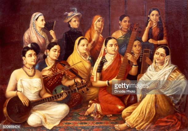Musicians painting by raja ravi varma in jagan mohan palace art gallery, Mysore, Karnataka, India