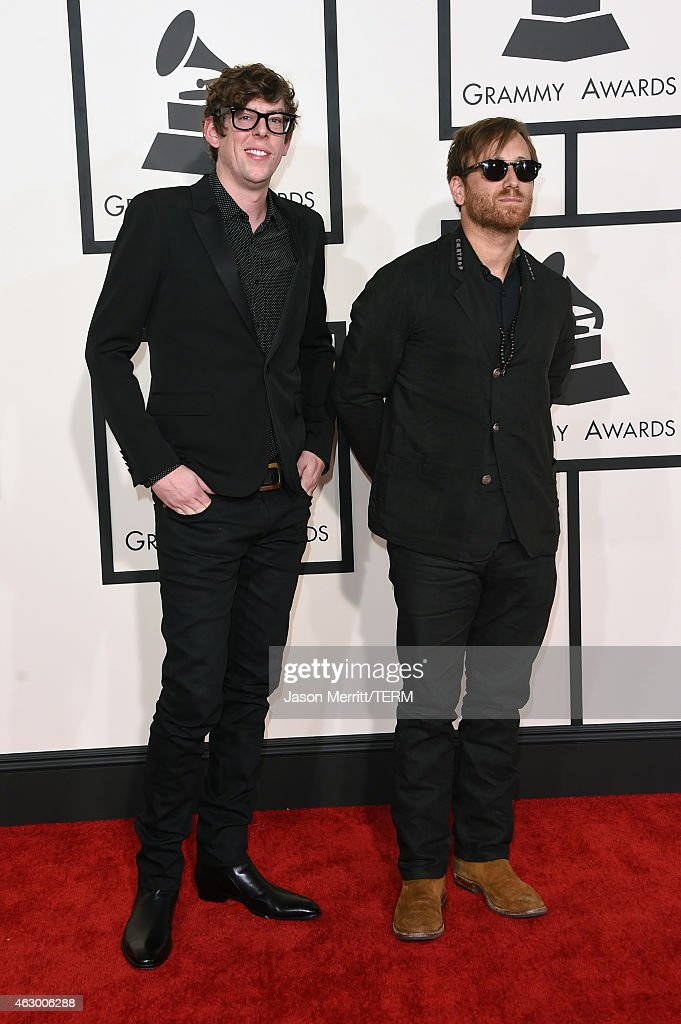 Musicians <a gi-track='captionPersonalityLinkClicked' href=/galleries/search?phrase=Patrick+Carney&family=editorial&specificpeople=2234034 ng-click='$event.stopPropagation()'>Patrick Carney</a> (L) and <a gi-track='captionPersonalityLinkClicked' href=/galleries/search?phrase=Dan+Auerbach&family=editorial&specificpeople=2233949 ng-click='$event.stopPropagation()'>Dan Auerbach</a> of the Black Keys attend The 57th Annual GRAMMY Awards at the STAPLES Center on February 8, 2015 in Los Angeles, California.