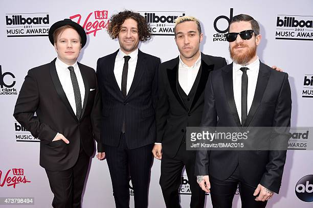 Musicians Patrick Stump Joe Trohman Pete Wentz and Andy Hurley of Fall Out Boy attend the 2015 Billboard Music Awards at MGM Grand Garden Arena on...