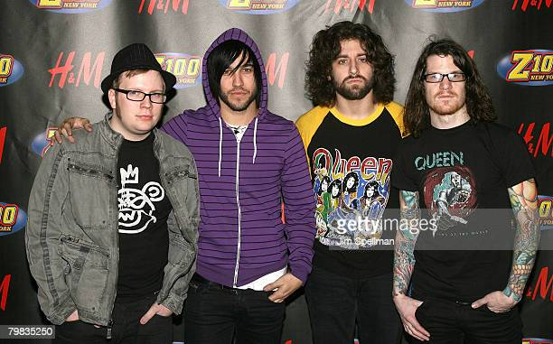 Musicians Patrick Stump Pete Wentz Joe Trohman and Andy Hurley of Fall Out Boy pose in the press room for Z100's Jingle Ball 2007 at Madison Square...