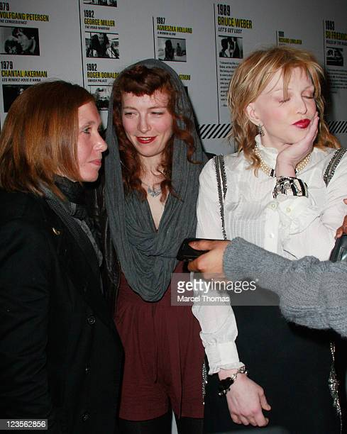 Musicians Patty Schemel Melissa auf der Maur and Courtney Love of Hole attend the 2011 New Directors/New Films screening of 'Hit So Hard' at The...