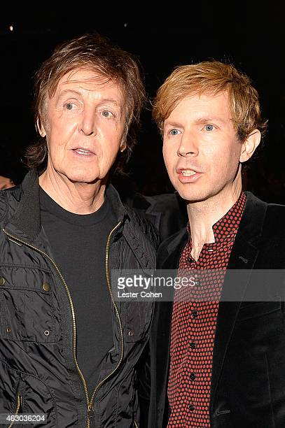 Musicians Paul McCartney and Beck during The 57th Annual GRAMMY Awards at the STAPLES Center on February 8 2015 in Los Angeles California