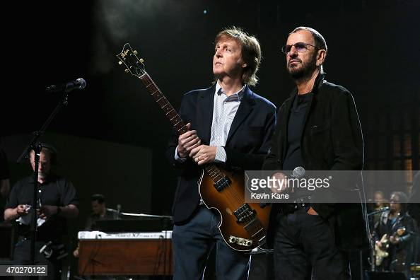Musicians Paul McCartney and Ringo Starr attend the 30th Annual Rock And Roll Hall Of Fame Induction Ceremony at Public Hall on April 18 2015 in...