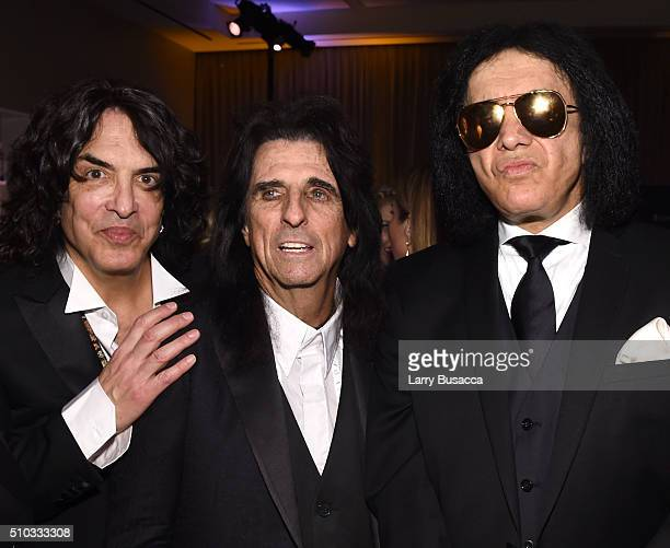 Musicians Paul Stanley Alice Cooper and Gene Simmons attend the 2016 PreGRAMMY Gala and Salute to Industry Icons honoring Irving Azoff at The Beverly...