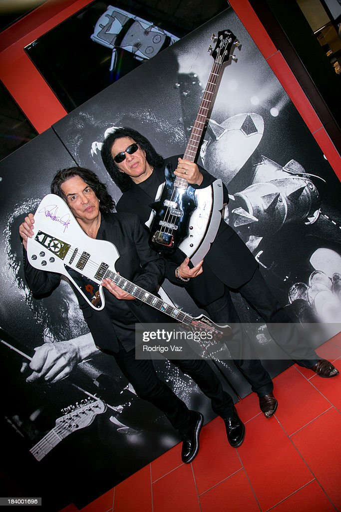 Musicians Paul Stanley (L) and <a gi-track='captionPersonalityLinkClicked' href=/galleries/search?phrase=Gene+Simmons&family=editorial&specificpeople=138593 ng-click='$event.stopPropagation()'>Gene Simmons</a> of KISS attend Rock & Brews LAX Opening at LAX Airport on October 10, 2013 in Los Angeles, California.