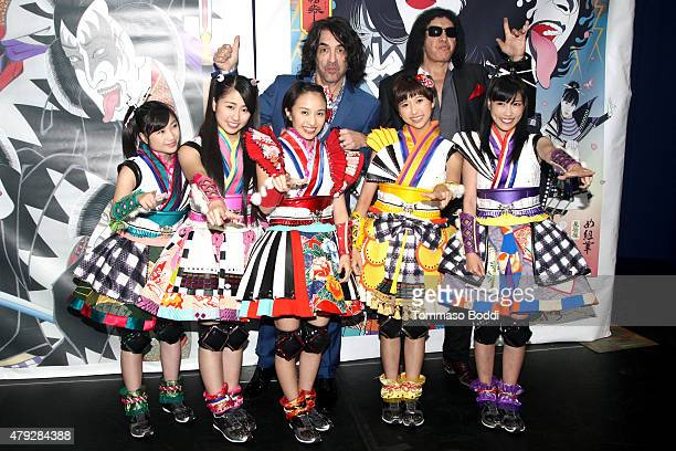 Musicians Paul Stanley Gene Simmons and Momoiro Clover Z attend the press conference and concert hosted by KISS members Gene Simmons and Paul Stanley...