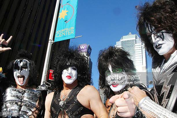 Musicians Paul Stanley Tommy Thayer Gene Simmons and Eric Singer of Kiss are seen leaving the 'Good Morning America' on October 11 2012 in New York...