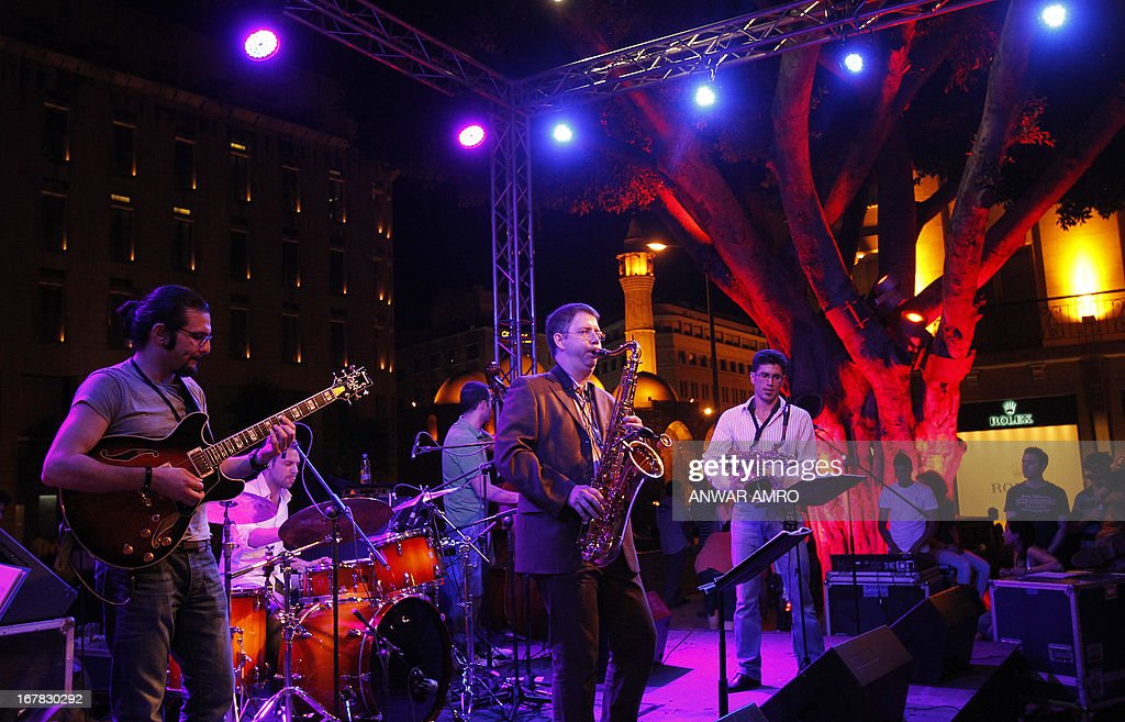 Musicians perform during the Beirut Jazz Festival in the early hours of May 1, 2013.