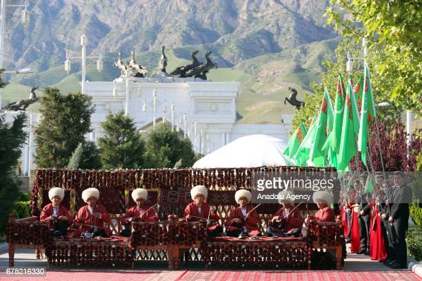 Musicians perform during the ceremony of Annual Turkmen Racing Horse Festival at Equestrian Sports Complex and Hippodrome in Ashgabat Turkmenistan on...