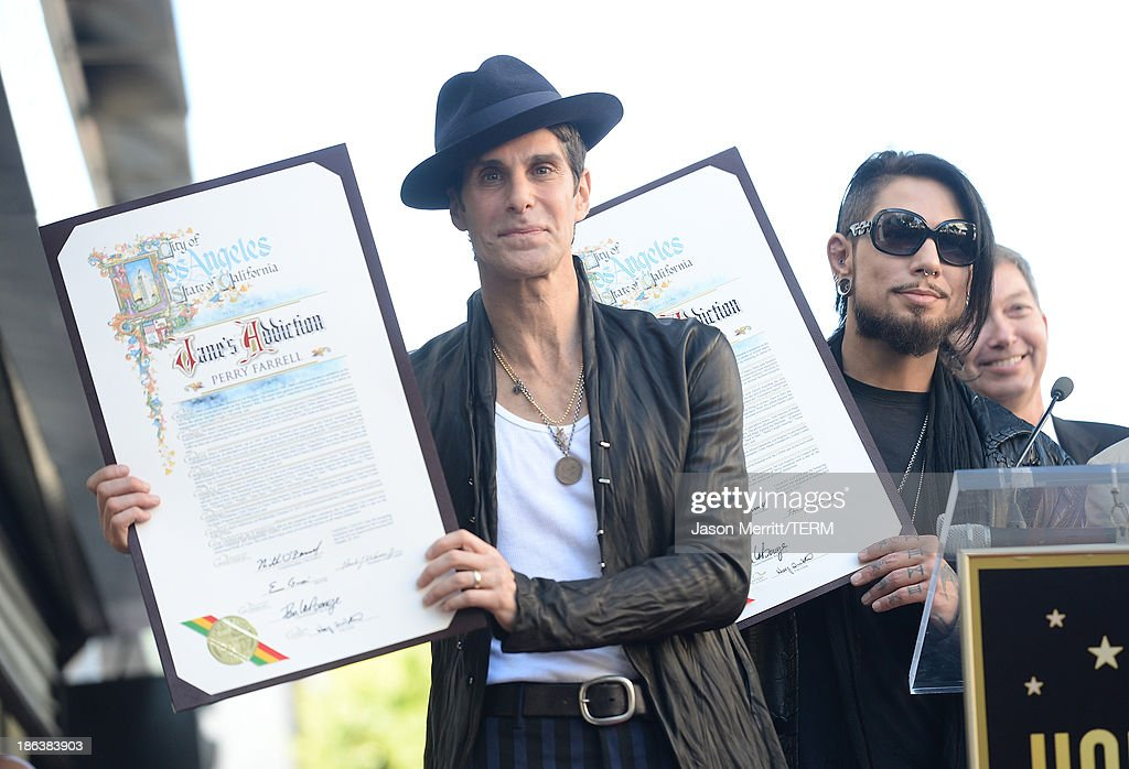 Musicians Perry Farrell and Dave Navarro attend the ceremony honoring Jane's Addiction with a Star on The Hollywood Walk of Fame on October 30, 2013 in Hollywood, California.