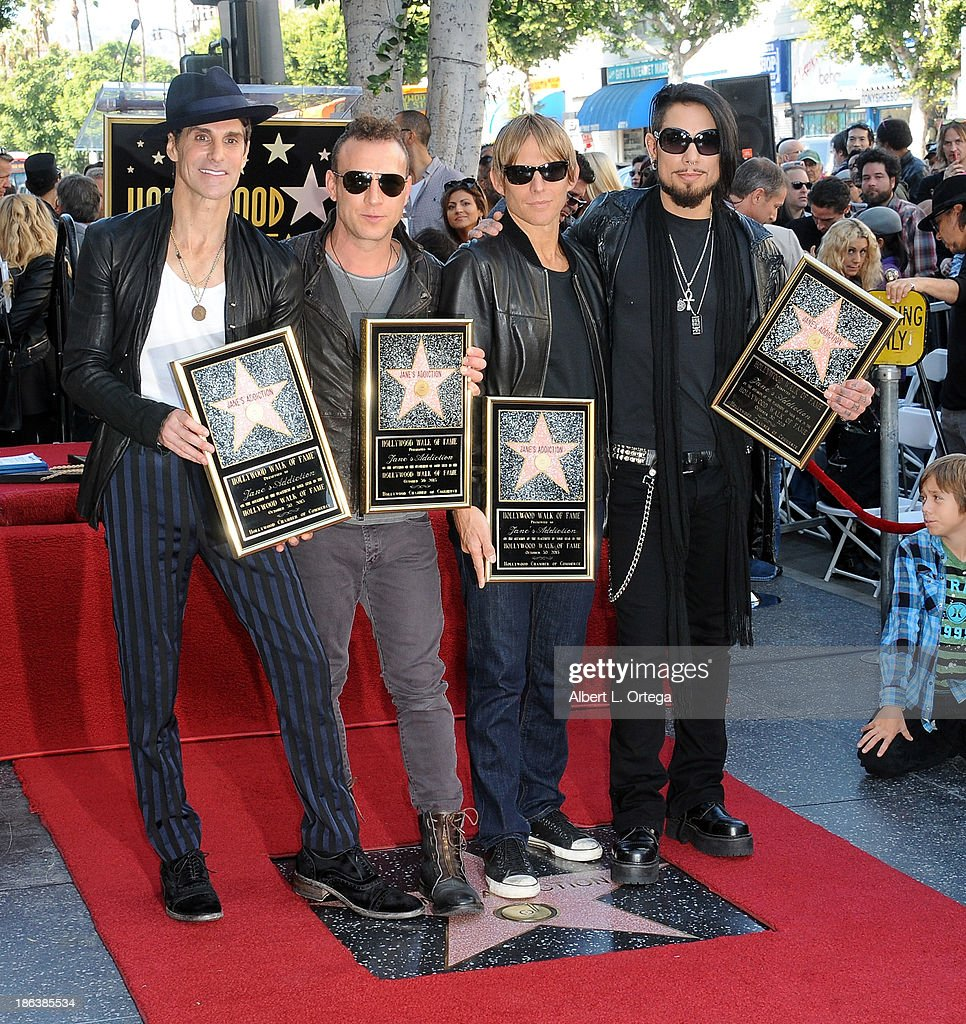 Musicians Perry Farrell, Stephen Perkins, Chris Chaney and Dave Navarro of Jane's Addiction Honored On The Hollywood Walk Of Fame on October 30, 2013 in Hollywood, California.