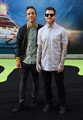 Musicians Pete Wentz and Andy Hurley of Fall Out Boy arrive at the premiere of Sony Pictures' 'Ghostbusters' at TCL Chinese Theatre on July 9 2016 in...