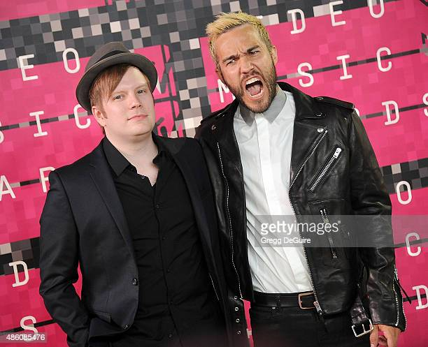 Musicians Pete Wentz and Patrick Stump of Fall Out Boy arrive at the 2015 MTV Video Music Awards at Microsoft Theater on August 30 2015 in Los...