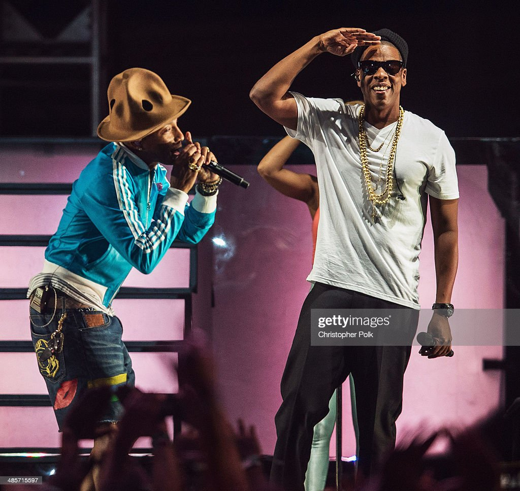 Musicians <a gi-track='captionPersonalityLinkClicked' href=/galleries/search?phrase=Pharrell+Williams&family=editorial&specificpeople=161396 ng-click='$event.stopPropagation()'>Pharrell Williams</a> (L) and Jay Z perform onstage during day 2 of the 2014 Coachella Valley Music & Arts Festival at the Empire Polo Club on April 19, 2014 in Indio, California.
