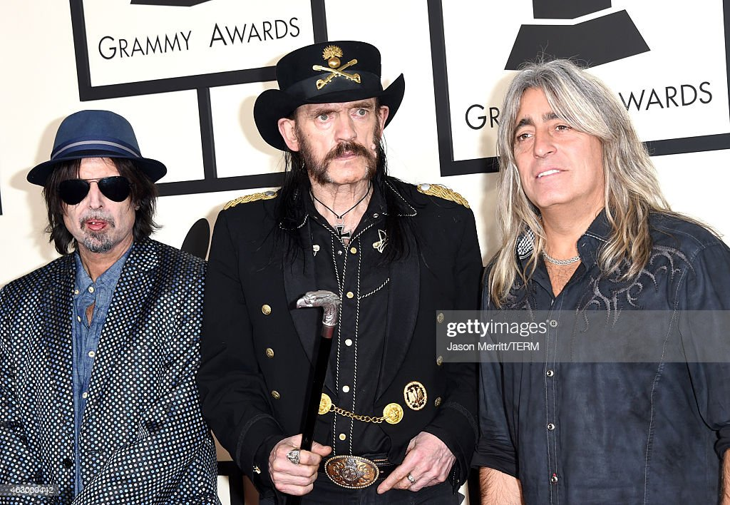 Musicians Phil Campbell, Lemmy and Mikkey Dee of Motorhead attend The 57th Annual GRAMMY Awards at the STAPLES Center on February 8, 2015 in Los Angeles, California.