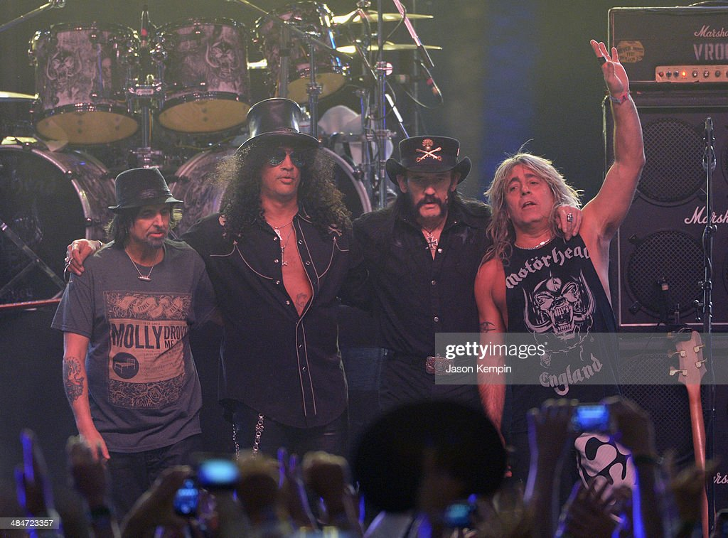 Musicians Phil Campbell of Motorhead, Slash, Lemmy Kilmister and Mikkey Dee of Motorhead perform onstage during day 3 of the 2014 Coachella Valley Music & Arts Festival at the Empire Polo Club on April 13, 2014 in Indio, California.