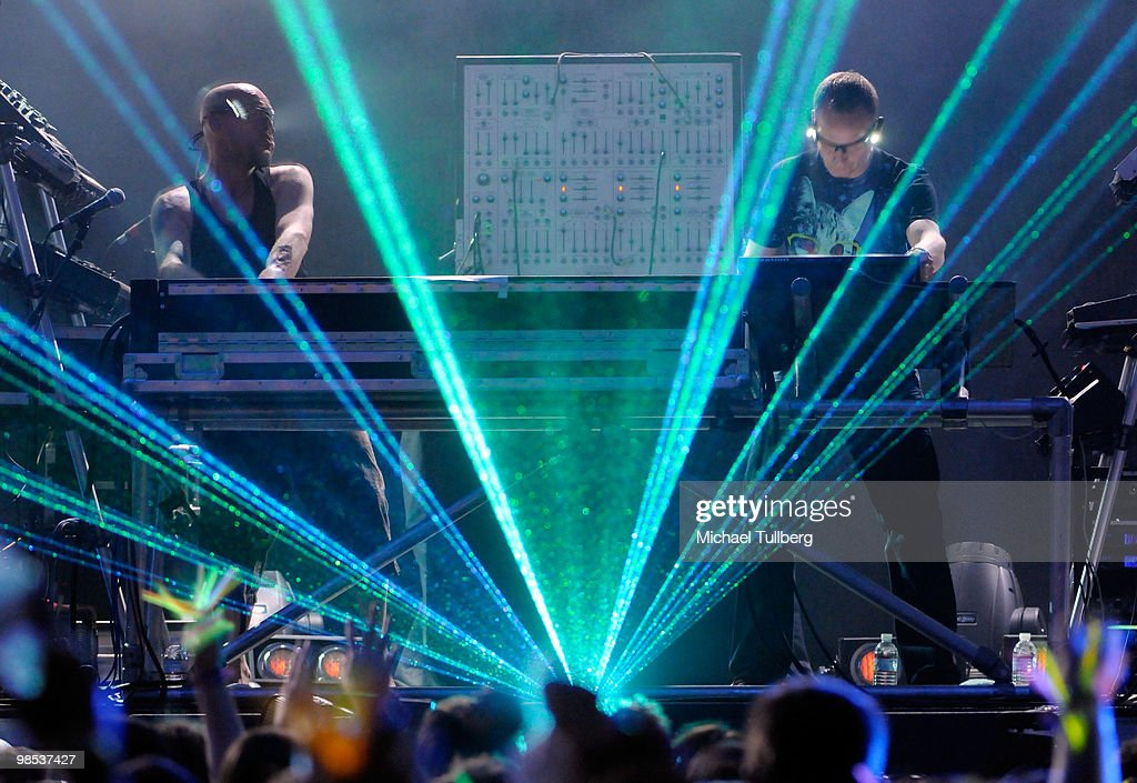 Musicians Phil Harntnoll and Paul Hartnoll of the music group Orbital perform during day three of the Coachella Valley Music Arts Festival 2010 held...