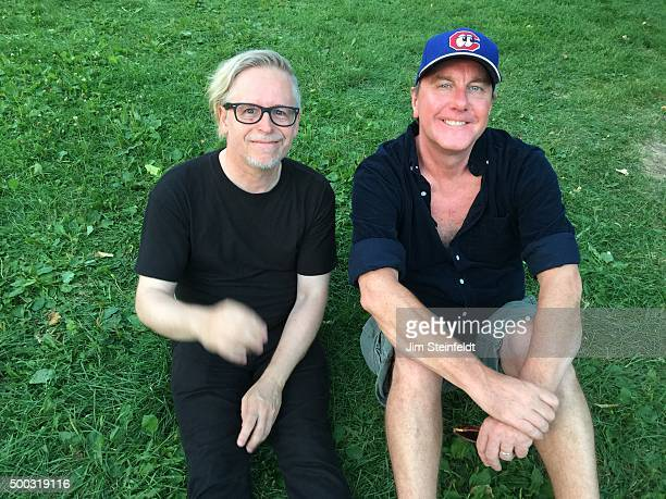 Musicians Phil Solem of The Rembrandts and Dan Murphy of Soul Asylum pose for a portrait in Loring Park in Minneapolis Minnesota on July 27 2015