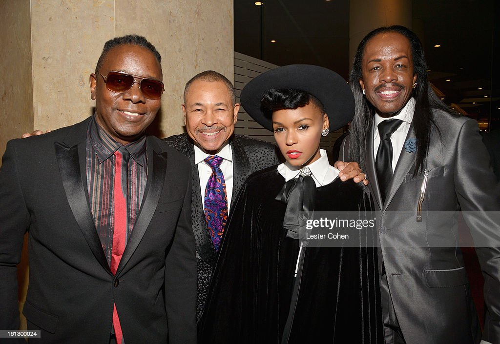 Musicians <a gi-track='captionPersonalityLinkClicked' href=/galleries/search?phrase=Philip+Bailey&family=editorial&specificpeople=217868 ng-click='$event.stopPropagation()'>Philip Bailey</a>, <a gi-track='captionPersonalityLinkClicked' href=/galleries/search?phrase=Ralph+Johnson+-+Musicista&family=editorial&specificpeople=12864218 ng-click='$event.stopPropagation()'>Ralph Johnson</a> and <a gi-track='captionPersonalityLinkClicked' href=/galleries/search?phrase=Verdine+White&family=editorial&specificpeople=211265 ng-click='$event.stopPropagation()'>Verdine White</a> of Earth, Wind & Fire with singer Janelle Monae (2nd R) arrive at the 55th Annual GRAMMY Awards Pre-GRAMMY Gala and Salute to Industry Icons honoring L.A. Reid held at The Beverly Hilton on February 9, 2013 in Los Angeles, California.