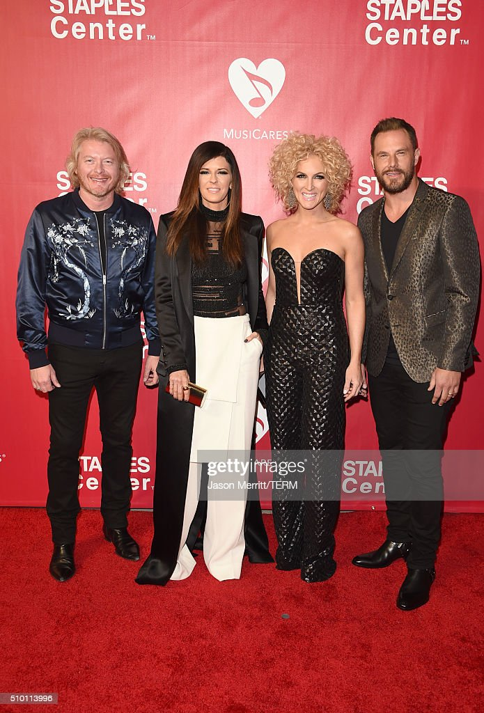 Musicians Philip Sweet, Karen Fairchild, Kimberly Schlapman, and Jimi Westbrook of Little Big Town attend the 2016 MusiCares Person of the Year honoring Lionel Richie at the Los Angeles Convention Center on February 13, 2016 in Los Angeles, California.